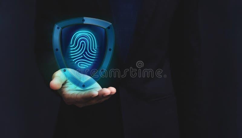 Concept de système de sécurité de réseau, empreinte digitale à l'intérieur d'un bouclier Gua photographie stock