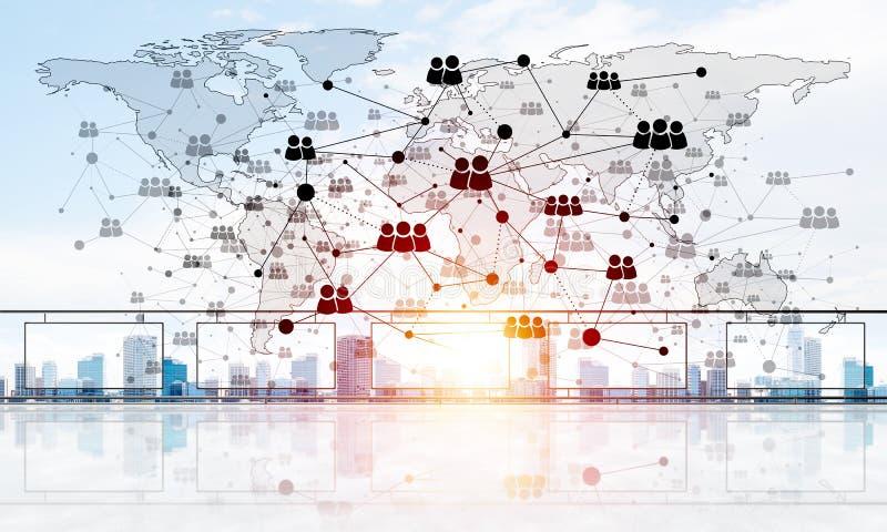 Concept de télécommunication mondiale et de mise en réseau avec la carte du monde au-dessus du paysage urbain illustration stock