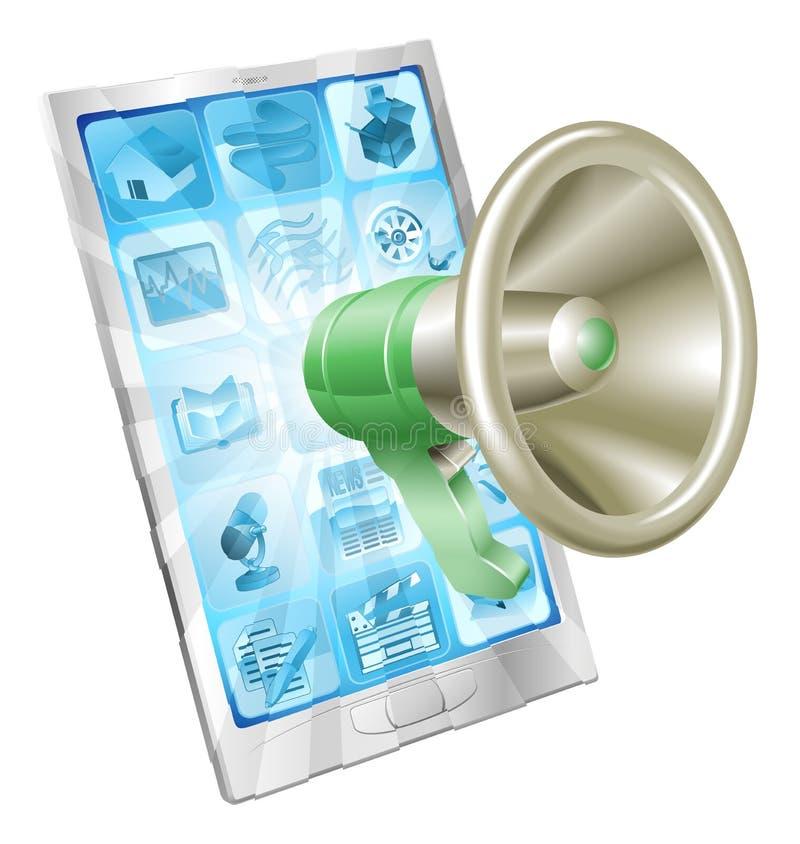Concept de téléphone de graphisme de mégaphone illustration stock