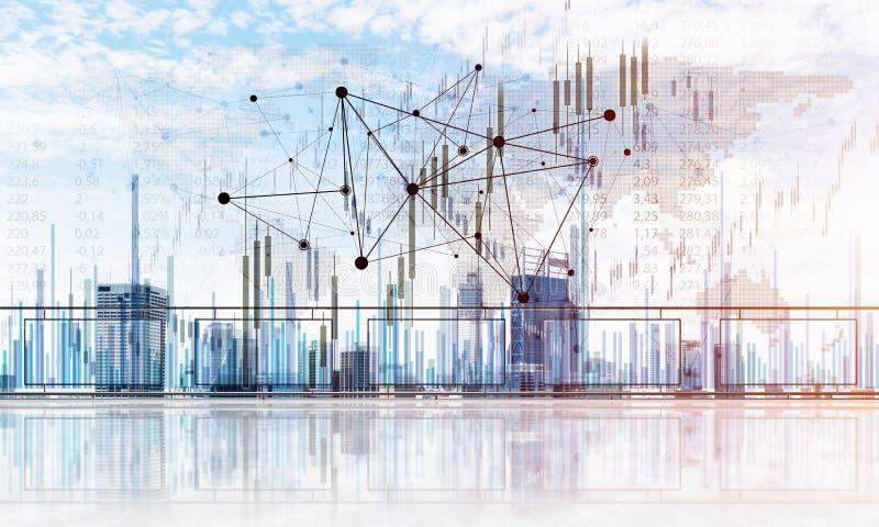 Concept de t?l?communication mondiale et de mise en r?seau avec la carte du monde au-dessus du paysage urbain illustration stock