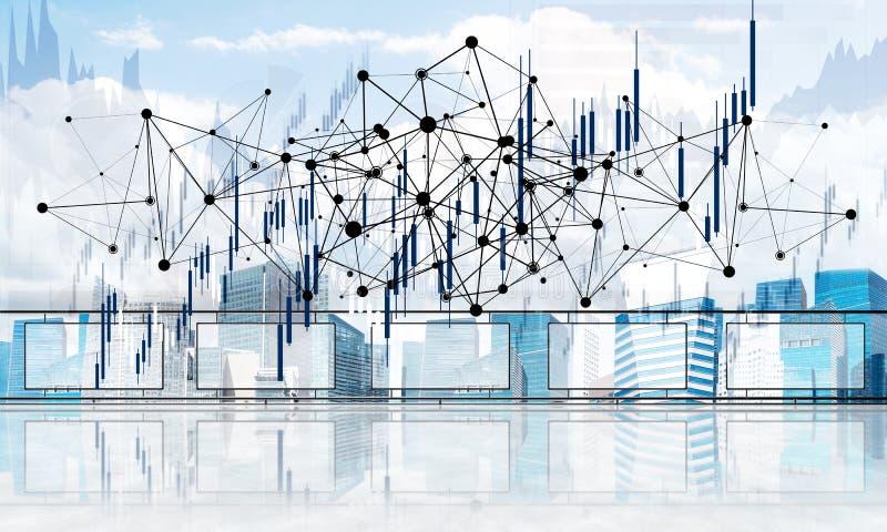 Concept de t?l?communication mondiale et de mise en r?seau avec la carte du monde au-dessus du paysage urbain illustration de vecteur