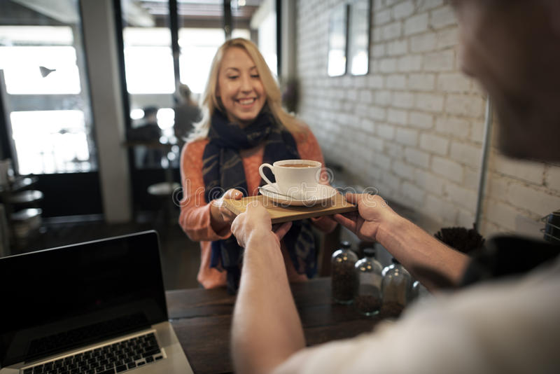 Concept de tablier de Staff Serving Cafeteria de serveur de café de café images libres de droits