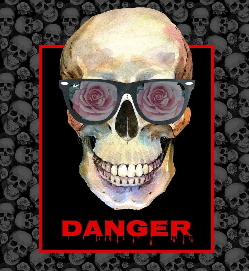 Concept de tatouage d'aquarelle avec le crâne dans l'élément de lunettes de soleil d'isolement illustration de vecteur