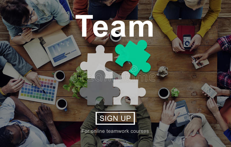 Concept de Team Teamwork Collaboration Connection Unity images libres de droits