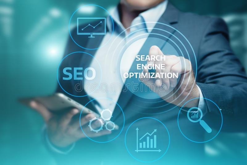 Concept de technologie d'affaires d'Internet de site Web du trafic de rang de SEO Search Engine Optimization Marketing images libres de droits