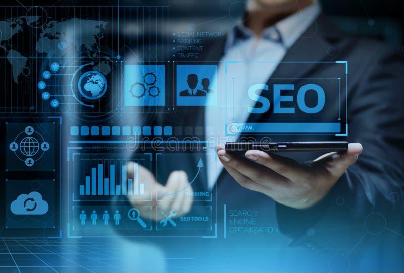 Concept de technologie d'affaires d'Internet de site Web du trafic de rang de SEO Search Engine Optimization Marketing images stock