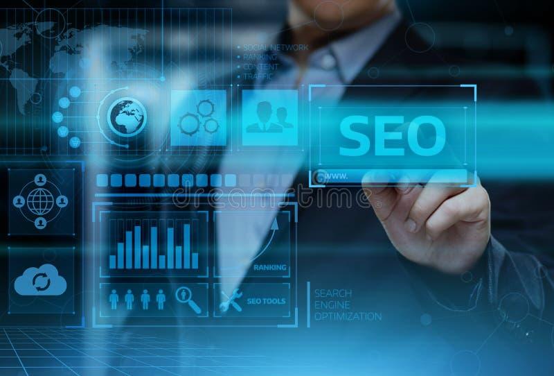 Concept de technologie d'affaires d'Internet de site Web du trafic de rang de SEO Search Engine Optimization Marketing image libre de droits