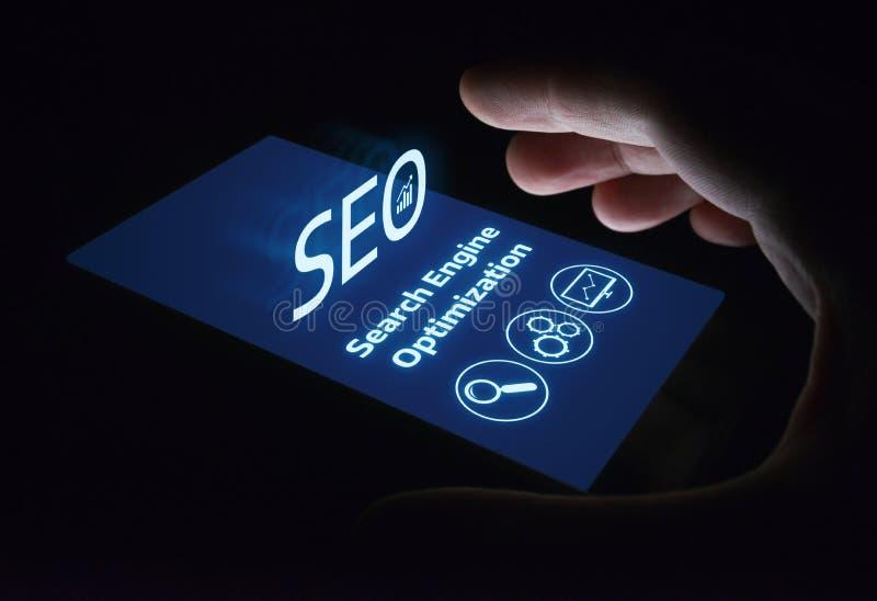 Concept de technologie d'affaires d'Internet de site Web du trafic de rang de SEO Search Engine Optimization Marketing photographie stock