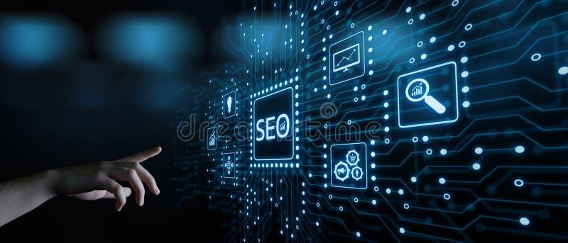 Concept de technologie d'affaires d'Internet de site Web du trafic de rang de SEO Search Engine Optimization Marketing photos stock