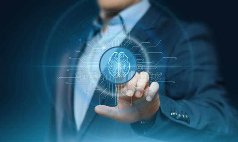 Concept de technologie d'Internet d'affaires d'apprentissage automatique d'intelligence artificielle image libre de droits