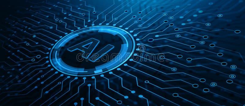 Concept de technologie d'Internet d'affaires d'apprentissage automatique d'intelligence artificielle illustration stock