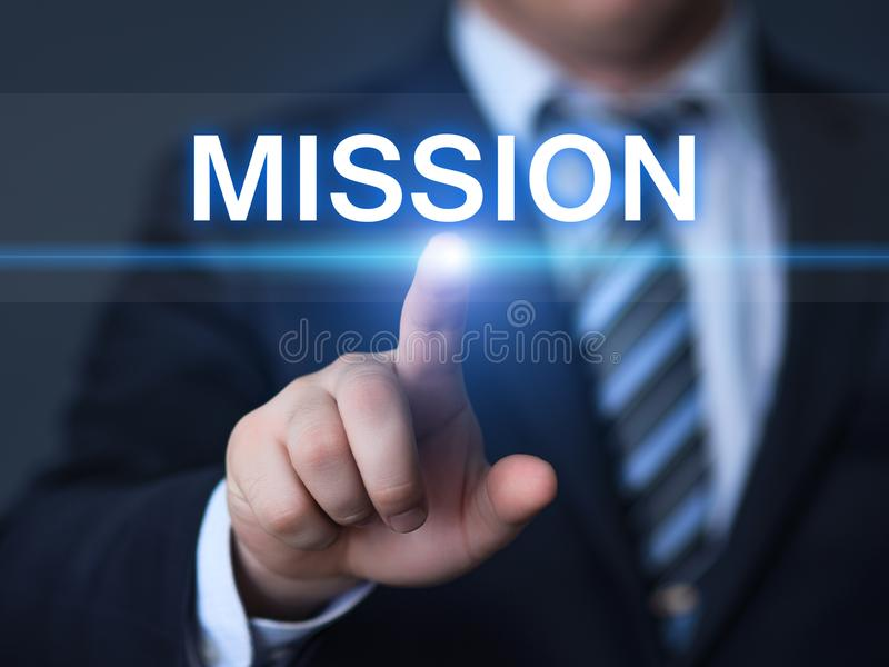 Concept de technologie d'Internet d'affaires de buts de Mission Vision Strategy Company images stock