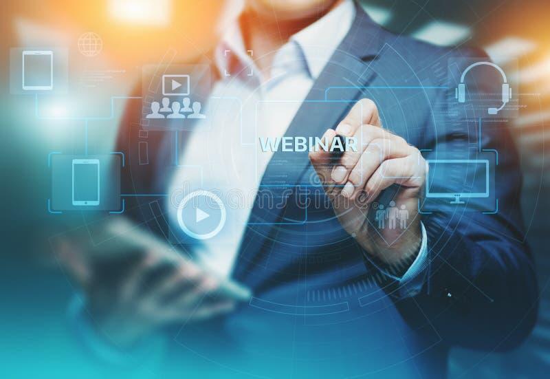 Concept de technologie d'Internet d'affaires de formation d'apprentissage en ligne de Webinar images libres de droits