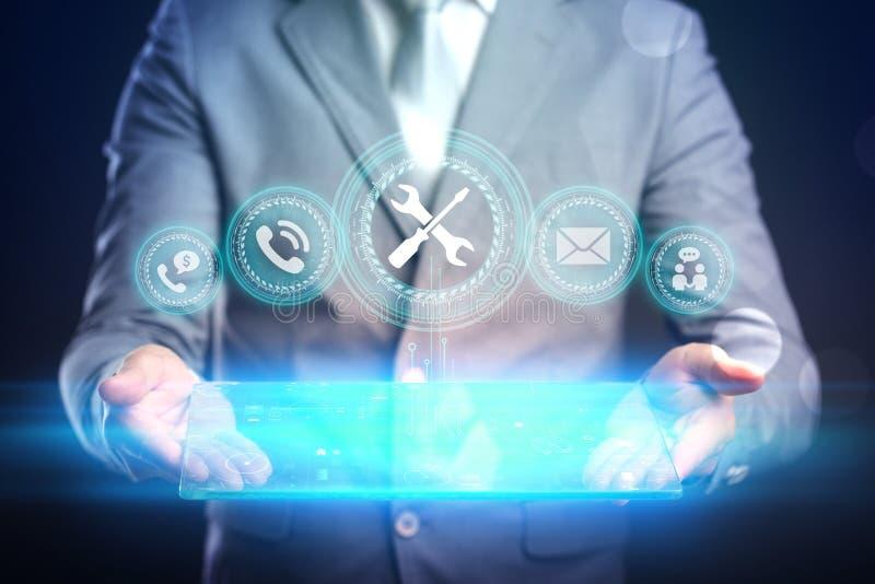 Concept de technologie d'Internet d'affaires L'homme d'affaires choisit Suppor photos libres de droits