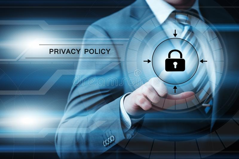 Concept de technologie d'Internet d'affaires de sécurité de Cyber de sécurité de protection des données de politique de confident images libres de droits