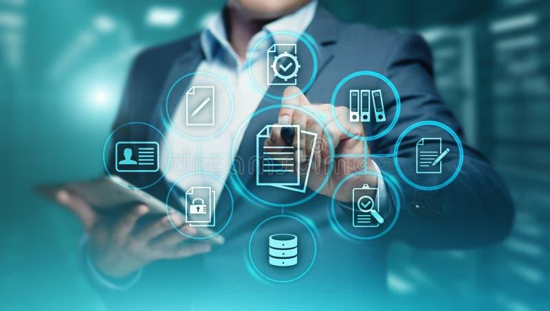 Concept de technologie d'Internet d'affaires de système de données de gestion de documents photographie stock libre de droits
