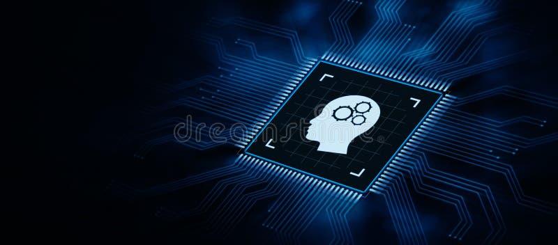Concept de technologie d'Internet d'apprentissage automatique d'intelligence artificielle illustration de vecteur