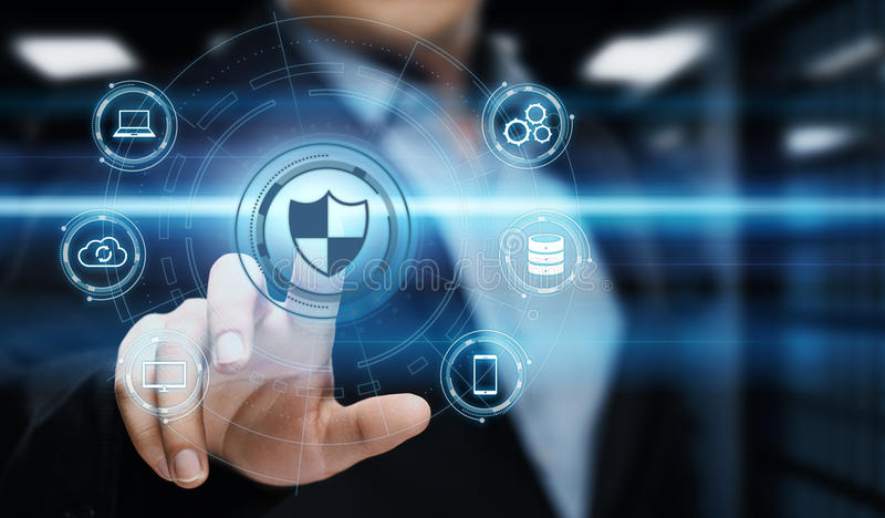 Concept de technologie d'Internet d'affaires d'intimité de sécurité de Cyber de protection des données images libres de droits