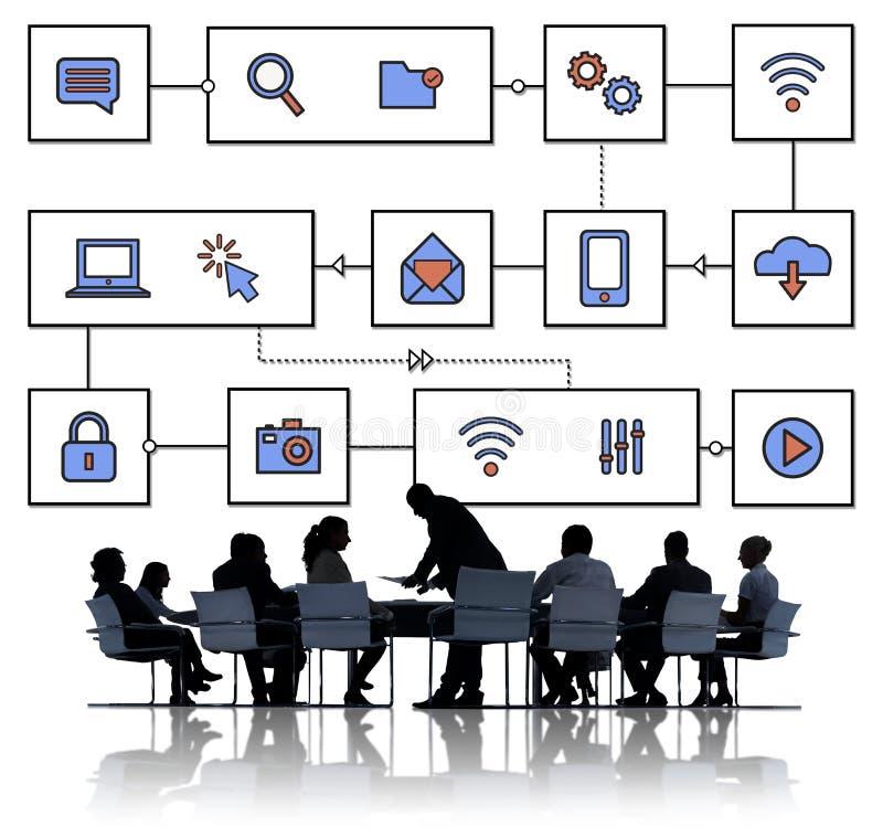 Concept de technologie d'Internet de données de connexion réseau photographie stock