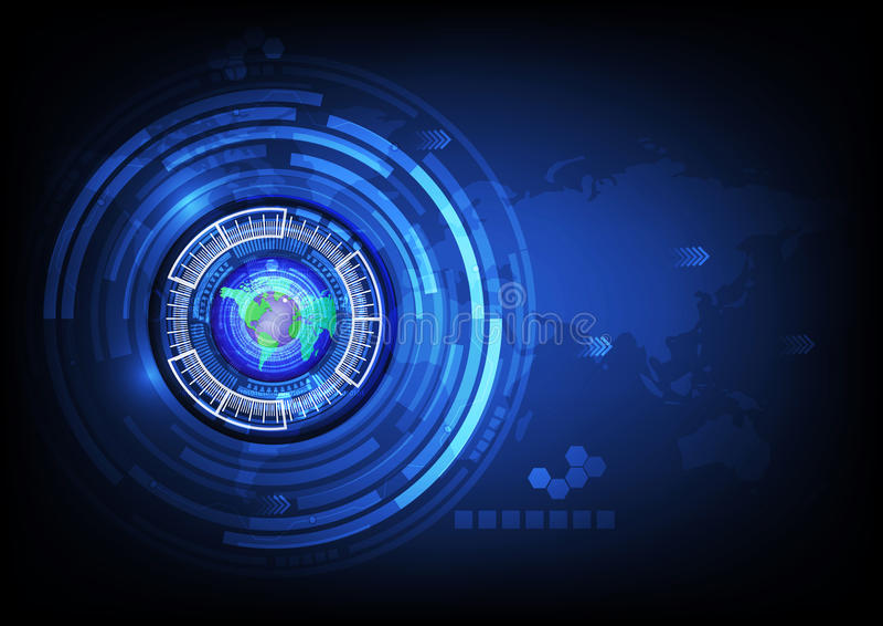 Concept de technologie de cyber d'abrégé sur boule d'oeil bleu de carte du monde futur illustration de vecteur