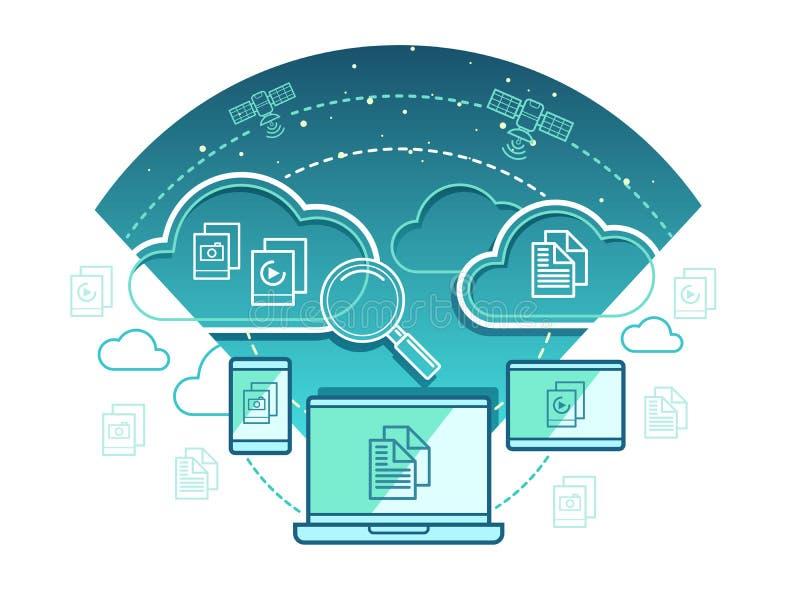 Concept de technologie de l'information plat illustration libre de droits