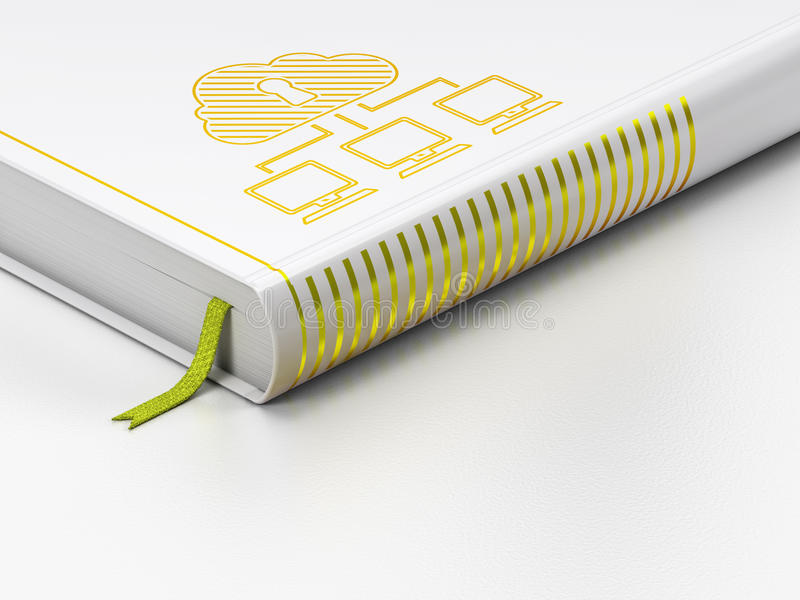 Concept de technologie de nuage : livre fermé, réseau de nuage sur le fond blanc illustration stock
