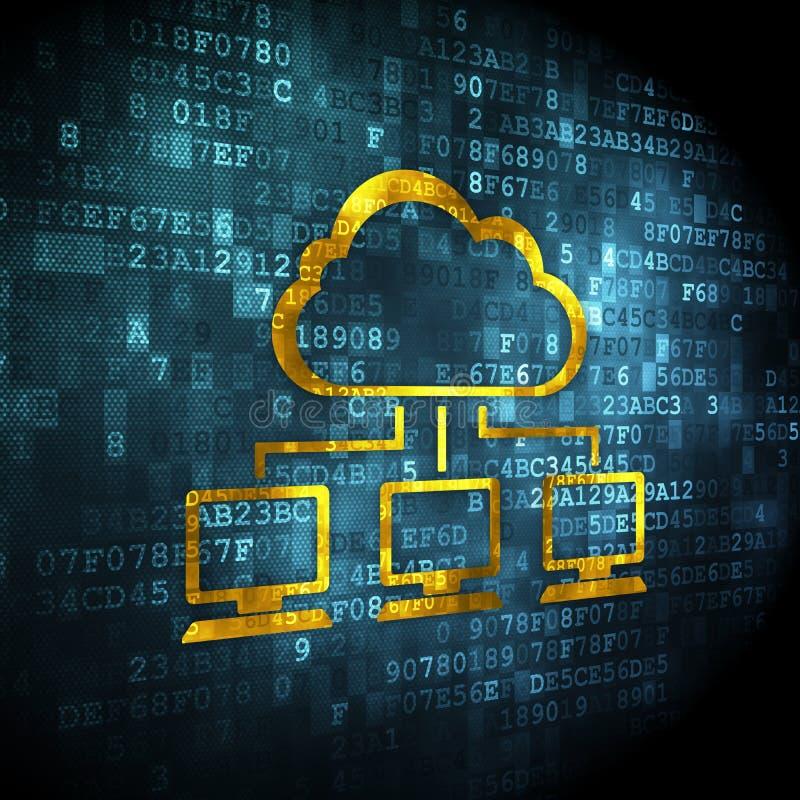 Concept de technologie de nuage : Réseau de nuage sur le fond numérique illustration libre de droits