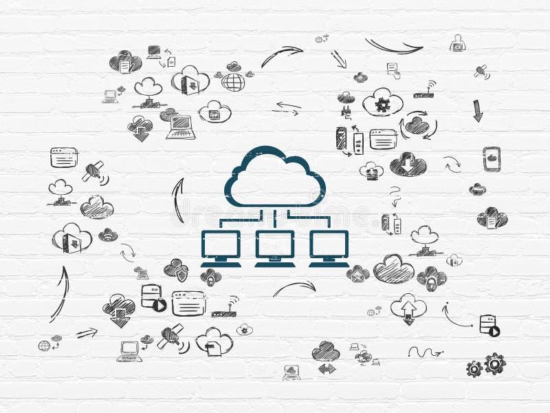 Concept de technologie de nuage : Réseau de nuage sur le mur illustration libre de droits