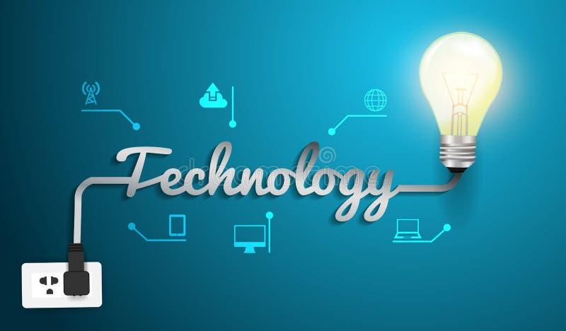 Concept de technologie de vecteur avec l'ampoule créative illustration de vecteur