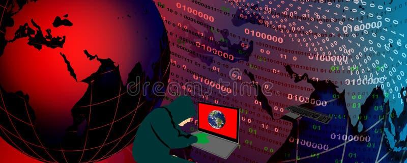 Concept de technologie du piratage des données de sécurité cybernétique illustration libre de droits