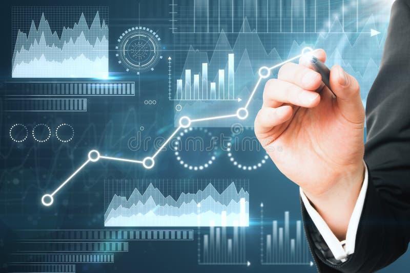 Concept de technologie, de finances et de communication photo stock