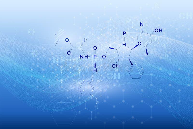 Concept de technologie de fourmi de la science de vecteur Formules chimiques de médecine reliées au modèle sans couture Signe de  illustration stock