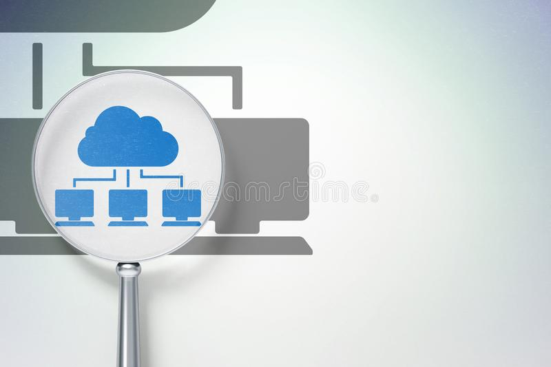 Concept de technologie de nuage : Réseau de nuage avec le verre optique sur le fond numérique illustration de vecteur
