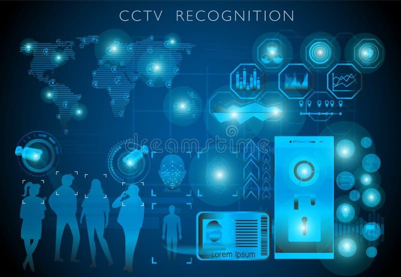 Concept de technologie de surveillance, CCTV avec écran de détection et interface futuriste illustration libre de droits