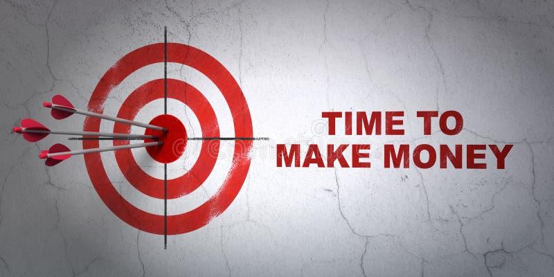 Concept de temps : cible et heure de gagner l'argent sur le fond de mur illustration stock