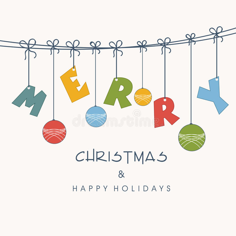Concept de texte et de boule accrochants pour la célébration de Joyeux Noël illustration stock