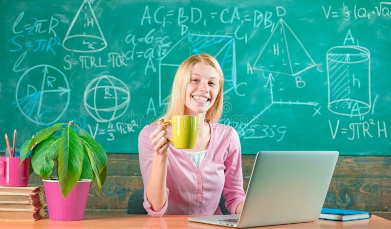 Concept de TIGE enseignement conventionnel Femme s?re avec le professeur en ligne de fonctionnement d'ordinateur portable ?ducati photos libres de droits