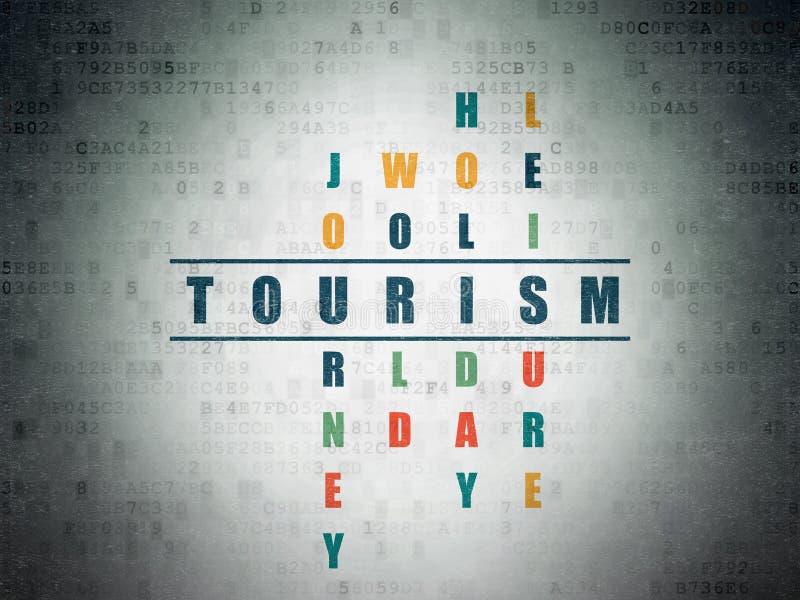 Concept de tourisme : Tourisme dans le jeu de mots croisé illustration de vecteur