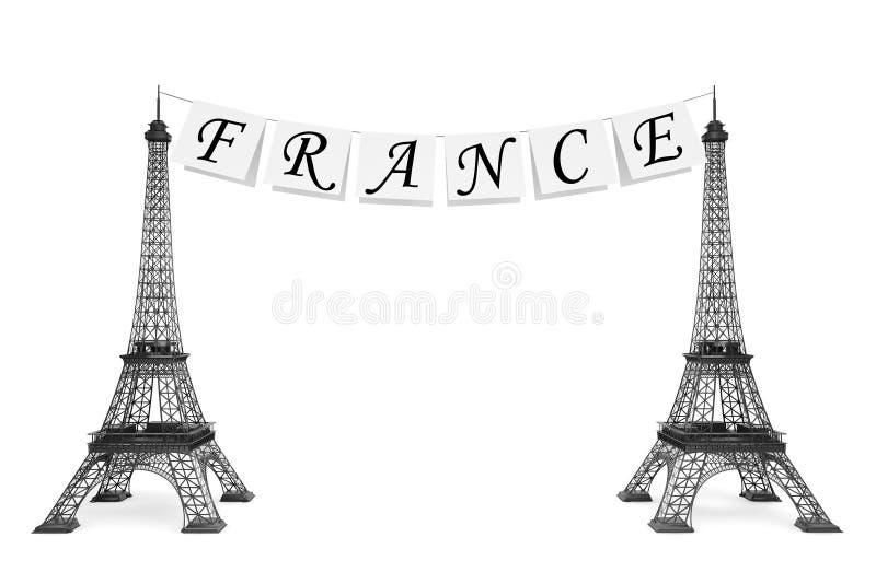 Concept de tourisme de Frances. Les Frances se connectent la corde avec Eiffel Towe illustration libre de droits