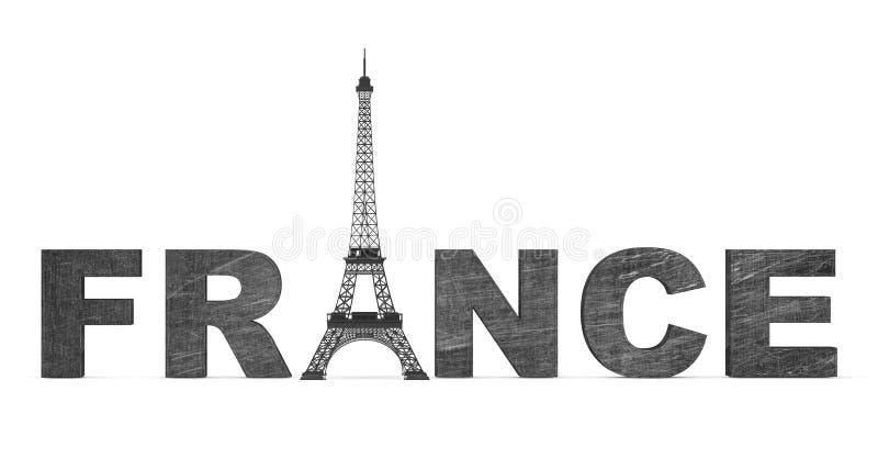 Concept de tourisme de Frances. Signe de Frances avec Tour Eiffel illustration de vecteur