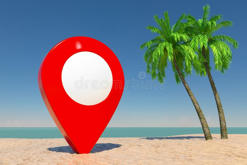 Concept de tourisme et de voyage Cible rouge Pin Pointer sur la plage tropicale de Paradise avec les palmiers blancs de sable et  photos stock