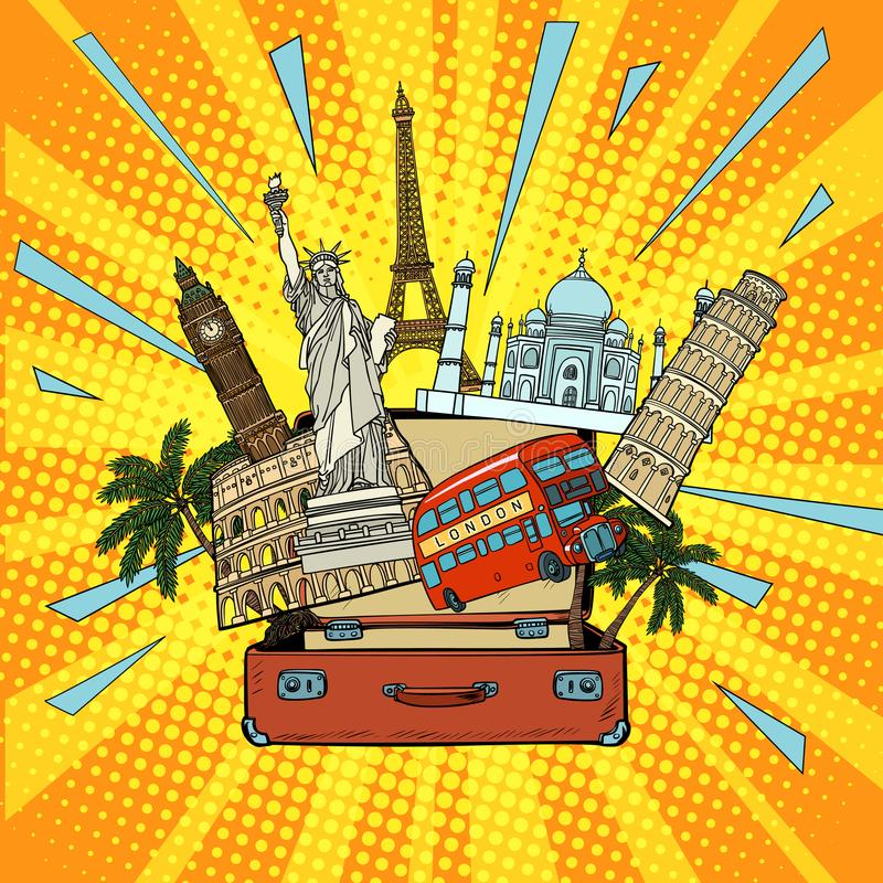 Concept de tourisme et de voyage L'Amérique l'Europe Asie et le monde illustration de vecteur