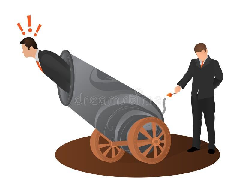 Concept de trahison d'associé Homme effrayé disposant à piloter le tir de l'arme à feu de canon d'arme Affaires d'accidents de tr illustration de vecteur