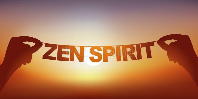 Concept de tranquilité avec des mains tenant une bannière sur laquelle sont écrits l'esprit de zen de mots image libre de droits