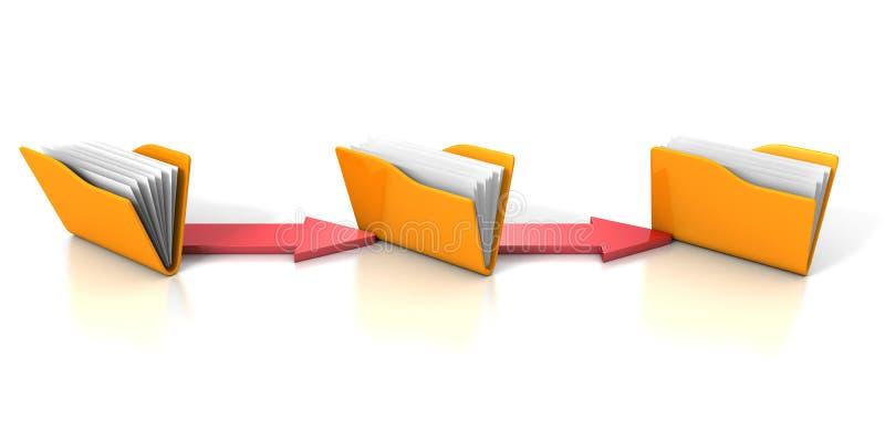 Concept de transfert des données avec les dossiers et les flèches jaunes de bureau illustration stock
