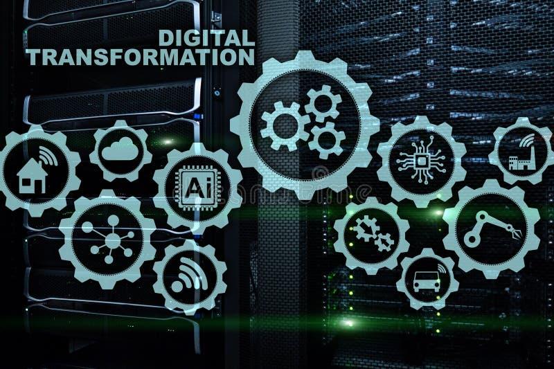Concept de transformation de Digital de la numérisation des processus d'affaires de technologie Fond de Datacenter images stock