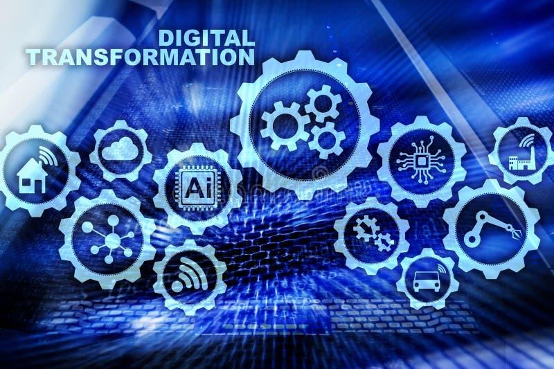 Concept de transformation de Digital de la numérisation des processus d'affaires de technologie Fond de Datacenter illustration libre de droits