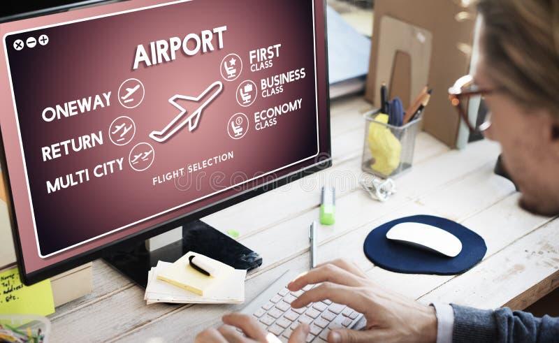 Concept de transport de sélection de billet de vol d'aéroport photos stock