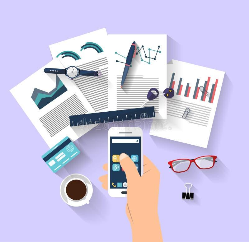 Concept de travail - concept d'affaires - conception plate images stock