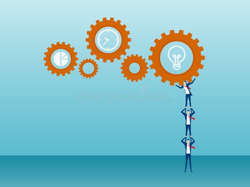 Concept de travail d'équipe Équipe d'affaires soulevant et poussant l'opération de mécanisme d'affaires au succès illustration de vecteur